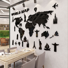World map 3d self-adhesive wall sticker Living room background painting Bedroom bedside creative decoration wallpaper