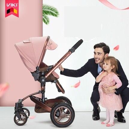 VIKI 2 en 1 haut paysage 360 degrés rotation bébé poussette, pliable quatre roues poussette, chariot bébé, landau réversible