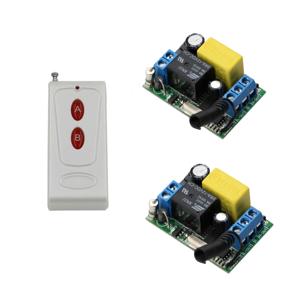 AC 220V Wireless Remote Control Switch Remote Light Switch System Output Radio 220V 1CH 10A Relay 2Pcs Receiver + Transmitter 2pcs receiver transmitters with 2 dual button remote control wireless remote control switch led light lamp remote on off system