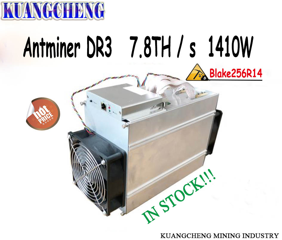 Più nuovo Bitmain AntMiner DR3 Blake25614R ASIC Minatore 7.8TH/S DCR Minatore più alto rendimento di Innosilicon D9 e FFminer