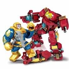 цена на 8in1 SY6399 406pcs Bricks Super Hero The Avengers Figure Set Iron-Man Thanos Thor Hulk Ant-Man Building Blocks Toys