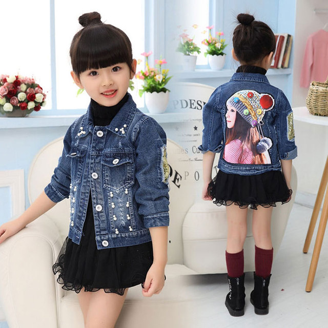 02367410ec07c7 Cartoon Girls Jacket cowboy Coat for Kids Girl Spring Outerwear Sport  Clothes for Baby Girls Jackets Infant Clothes Newborn Coat