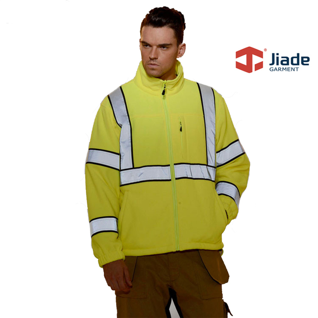 Customize hi vis men's outerdoor jacket thermal jacket yellow fleece jacket work jacket free shipping