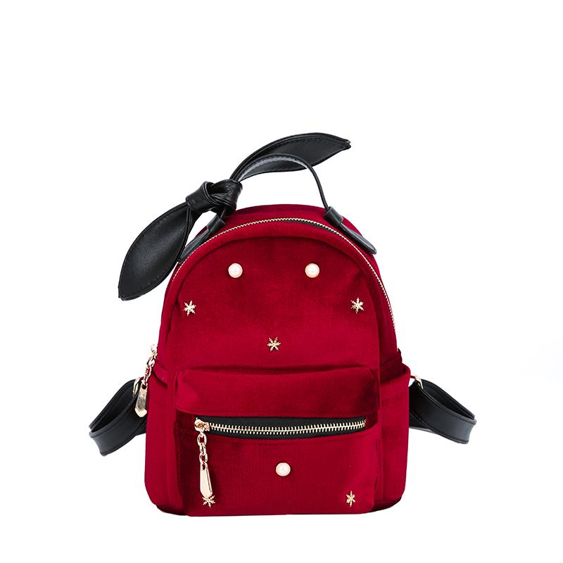 New Fashion Women Mini Velvet Backpack Designer High Quality Casual Style Travel Backpack School Bag For Teenage Girls backpacks for teenage girls new casual women backpack high quality fashion travel school bags ladies brand designer bookbag