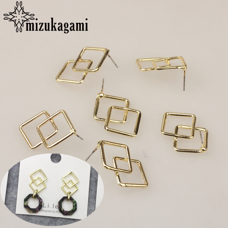 Zinc Alloy Golden Metal Geometric Square Base Earrings Connector 20mm 6pcs/lot For DIY Earrings Making Jewelry Accessories