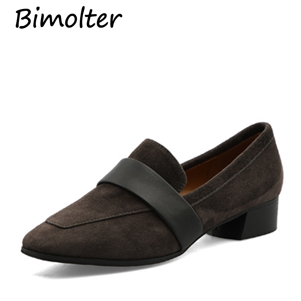 Bimolter Autumn women flats shoes Sheep   Suede   shoes   leather     suede   casual shoes slip on flats heels creepers moccasins LFSB011