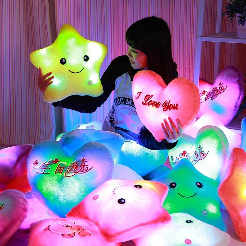 Colorido brillante llevado almohadas niños coloridos juguetes niños cumpleaños GiftFlash peluches luminosos LightLovely regalos para