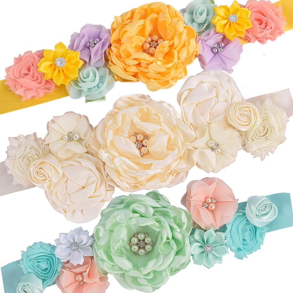 Flower Sash Maternity Sash Pregnancy Belly Belt Baby Shower Party Photo Prop Baby Gift Flower Girl Sash Fancy Wedding Sash