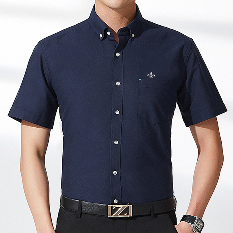 Image 4 - DUDALINA Men's Short Sleeve Shirt NEW Oxford solid color Shirt Homens Casual Fashion Turn Down Collar Camiseta Pluss Size M 5XL-in Casual Shirts from Men's Clothing