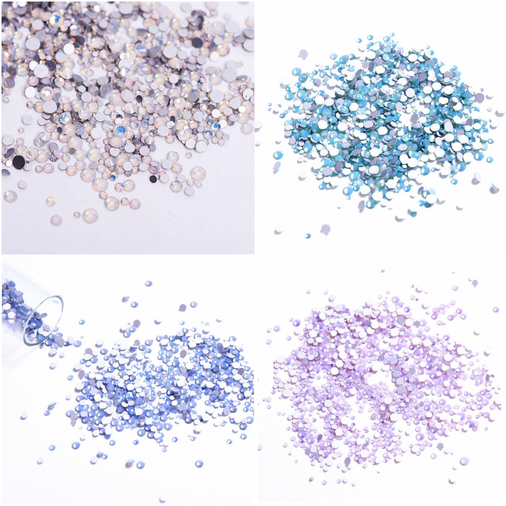 Mix Sizes Opal Colors Crystal Glass Non Hotfix Flatback Rhinestones Strass Nail Art Nails Accessoires Nail Art Decoration strass glass ab rhinestones non hotfix ss20 4 8 5 0mm for 3d nails art design decorations crystal for nails gel nail accessories