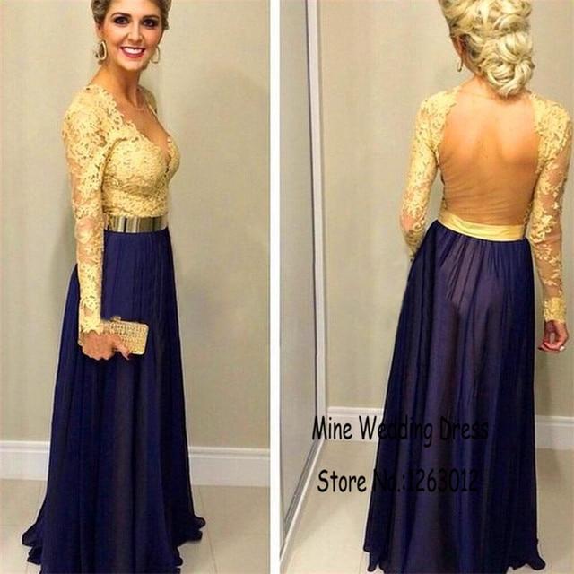 Vestidos de noche azul con dorado