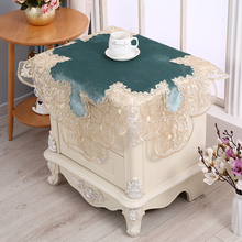 European Water Soluble Lace Tablecloth Refrigerator Washing Machine Bedside Table Cloth Dust Velvet Cover Towel Fabric Square
