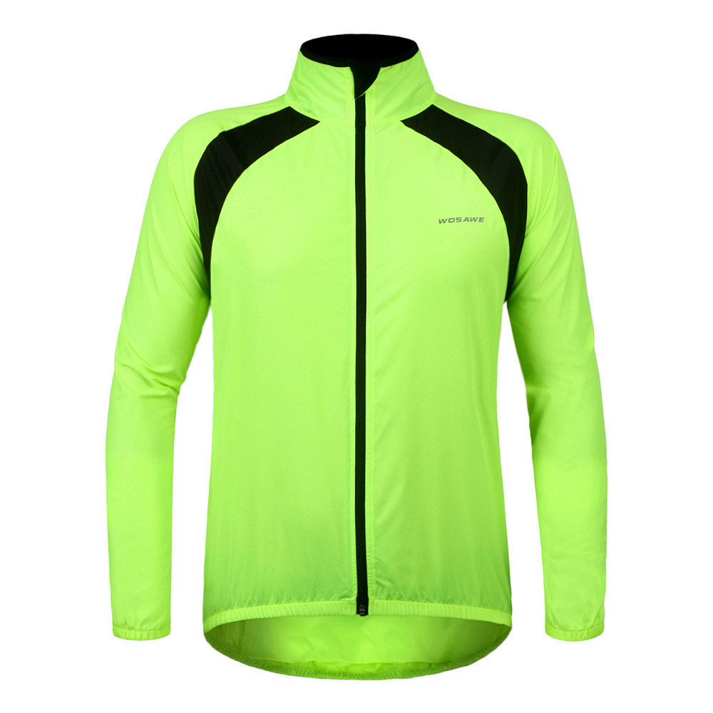 WOSAWE UV Protection Men's Cycling Jacket Long Sleeve Jersey Summer Bicycle Windproof Waterproof Skin Coat Green Sports Suit