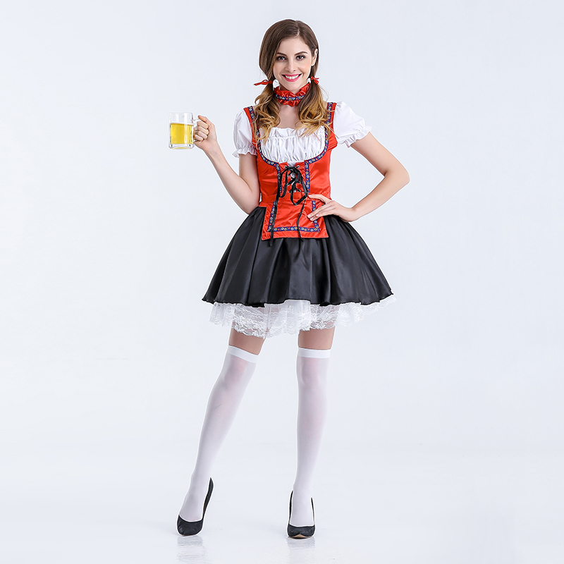 Sexy Red German Beer girl Cosplay Costumes Sexy Miss Maid Oktoberfest Fancy Dress Women Beer girl costumes for Halloween party