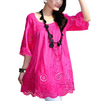New 2017 Summer style Bohemian embroidery cotton Women top Blouses summer blusa feminina women Shirts camisa feminina Plus size
