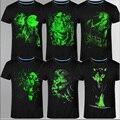 2016 Nuevo 3D hombres camiseta de Ocio Fluorescente Personalizada de manga Corta Luminosa Camiseta de Verano Tops Hombres Camiseta ropa ligera