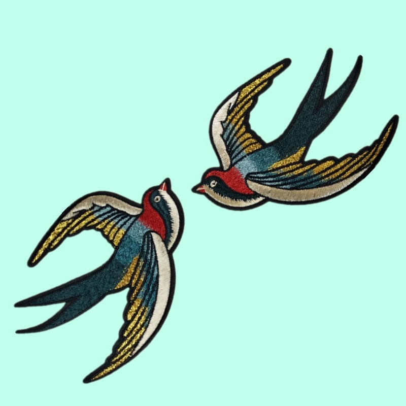 Pair Swallow Birds multiple colours embroidered bird iron on patch sew on badge