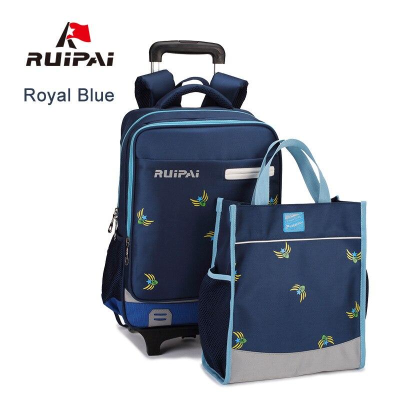 RUIPAI Kids School Bags Drawbars Stair Trolley School Bag Backpack With Wheel Waterproof Schoolbags For Students