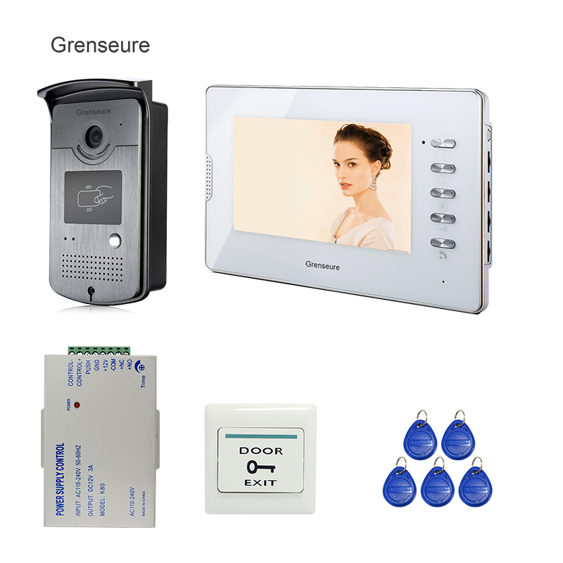 FREE SHIPPING New 7 inch Color LCD Video Door Phone Doorbell Intercom System RFID Reader Camera + 1 White Monitor + Power Supply brand new wired 7 inch color video intercom door phone set system 2 monitor 1 waterproof outdoor camera in stock free shipping