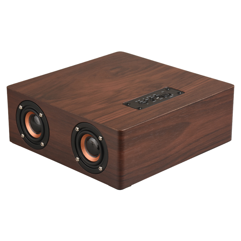 LEORY Portable HiFi Wireless Bluetooth Speaker Wooden Bass Alarm Clock Soundbar Subwoofer Stereo Speaker for Phone PC