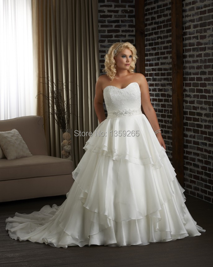 Plus Size Wedding Dress Women Top Lace Bride Gowns Beaded Organza ...