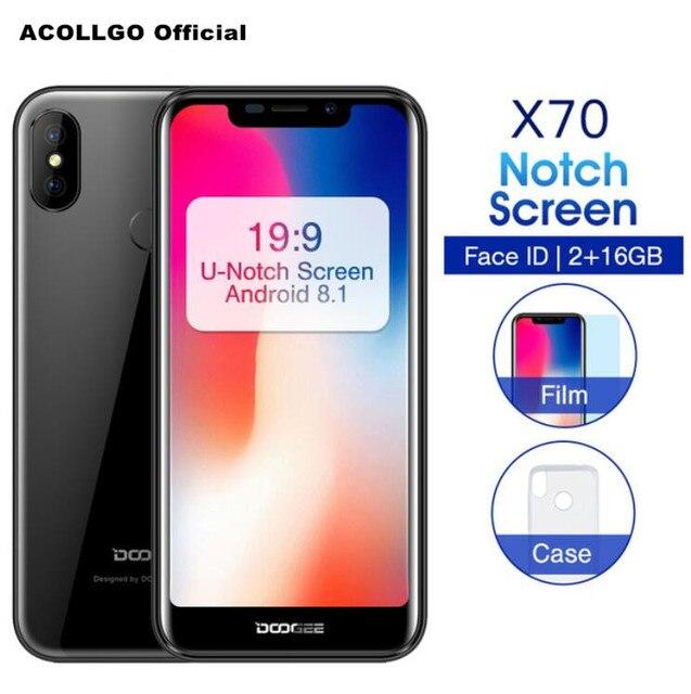 "DOOGEE X70 Face ID SmartPhone MTK6580A Quad Core 5.5"" U-Notch 19:9 Android 8.1 8MP Dual rear camera 2GB RAM 16GB ROM OTA 4000mAh"