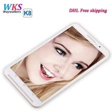 Envío libre de DHL 8 pulgadas waywalkers K8 smartphone tablet pc Octa 8 Core Android 5.1 4G LTE Rom 64 GB RAM 4 GB 1280*800 IPS de la tableta