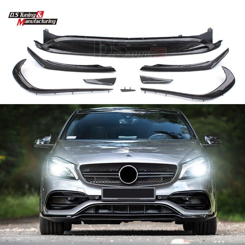 Mercedes W176 Carbon Fiber Front Bumper Lip Canards 8 pieces/set A45 AMG Style for Mercedes A Class W176