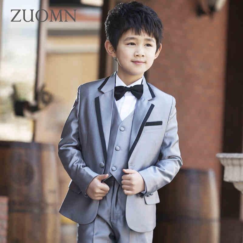 ФОТО Boys Blazer 5 pcs/set Wedding Suits for Boy Formal Dress Suit Boys Wedding Suit Kid Single Button Boy Outfits Costume GH332