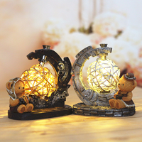 Pilot Bear Creative Mini LED Night Light Decoration Hogar Resin Antique Imitation Planet instrument Figurines Desk Lamp