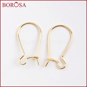 BOROSA Gold Color Kidney Shaped Ear Wires Earring Hooks Ear Hooks For Jewelry Earrings Findings PJ024