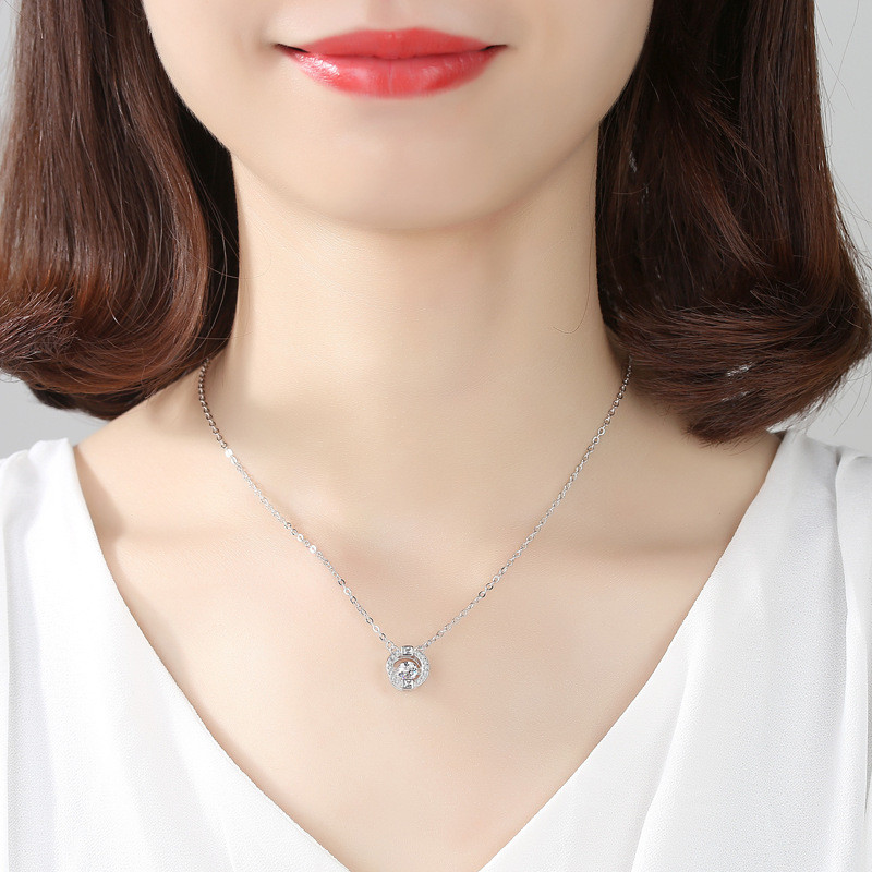 925 Sterling silver Pendant necklace The circular hollow out wholesale Women fashion jewelry in Pendant Necklaces from Jewelry Accessories
