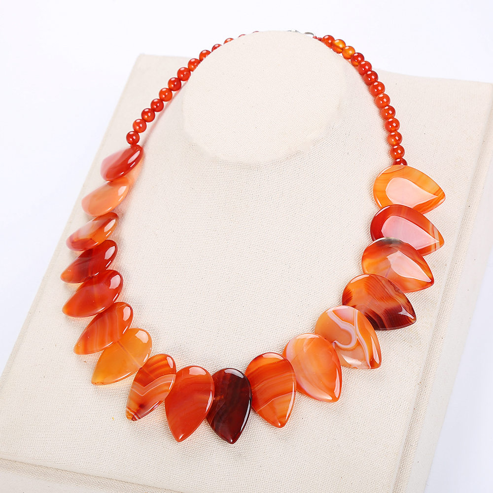Red Natural Stone Necklace Big Layered Necklace Women Exaggerated Jewelry Pendant Chain Collares Flower Couple Necklace Choker bead bar layered pendant necklace page 7