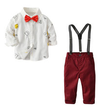 2019 Autumn Kids Blazers Baby Boys Suits Single Breasted Tie Coat Pants Boys Suit Formal Party Wedding Wear Children Clothing(China)
