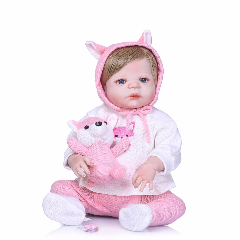 NPK Nicery 22inch 55cm Bebe Reborn Doll Hard Silicone Boy Girl Toy Reborn Baby Doll Gift for Children Pink cloth Girl Baby Doll