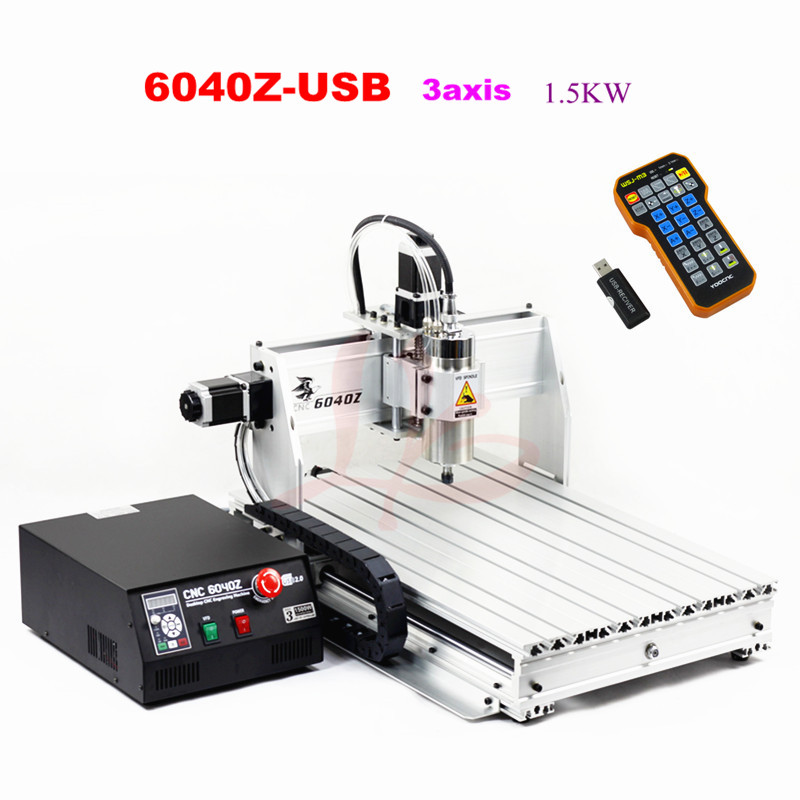 CNC engraving and milling machine 6040 cnc router 6040Z-USB 3axis with mach3 remote for wooden working 3d cnc router cnc 6040 1500w engraving drilling milling machine cnc cutting machine 110 220v