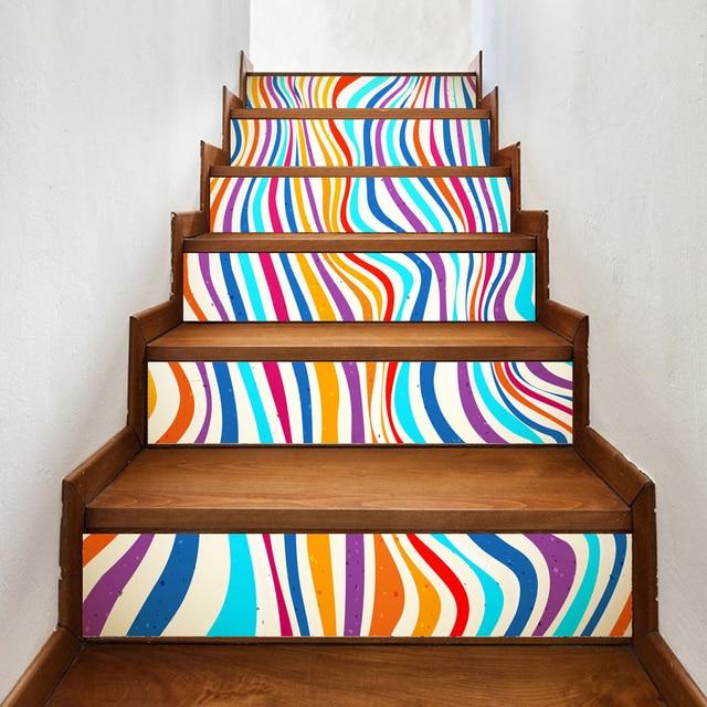 Yazi 6PCS DIY Self Adhesive Stair Sticker Vinyl Stairs Refurbished Wall  Sticker Stairway Decor 18x100CM