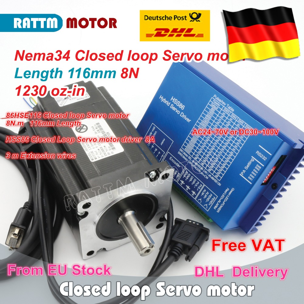 EU ship Nema34 L-116mm Closed Loop Servo motor 8N.m Motor 6A Closed Loop & HSS86 Hybrid Step-servo Driver 8A CNC Controller Kit насос электрический relax 2 way electric pump 220b 12b