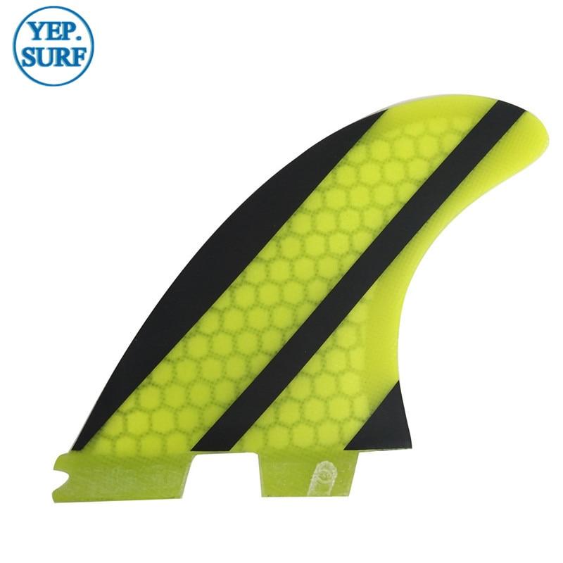 SUP Quilhas FCS Fins G5 Yellow Honeycomb Fiberglass Carbon Fiber - Ջրային մարզաձեւեր - Լուսանկար 2