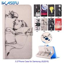 IKASEFU Lovely Cartoon Phone Cases for Samsung Galaxy J5 2016 J510 Cover Wallet Leather Flip Silicone Coque for Galaxy J5 2016