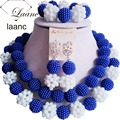 Королевский Синий и Белый Нигерийские Африканские Бусы Свадебный Комплект Ювелирных Изделий Laanc AL069