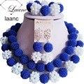 Royal Azul y Blanco Perlas Africanas Nigerianas Joyería Nupcial Conjunto Laanc AL069
