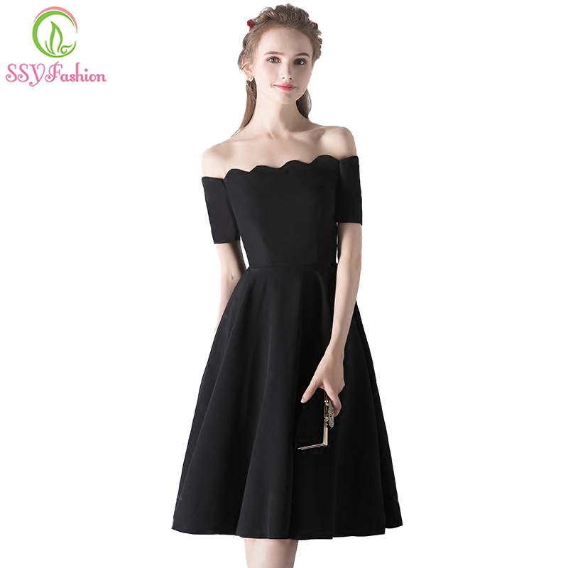 SSYFashion New Simple Little Black   Dress   Knee-length Elegant Banquet   Cocktail     Dress   Custom Made Party Formal Gown Robe De Soiree