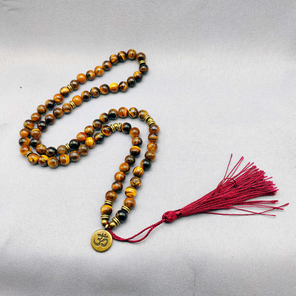 tiger's-eye Natural Stones 108 mala Yoga meditation long Tassel Necklace Handmade Classic Beaded Women Necklace DropShipping