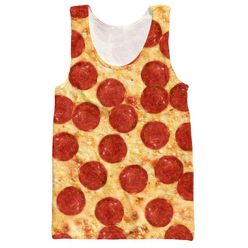 페퍼로니 피자 탱크 탑 패션 남성 의류 여름 민소매 셔츠 보디 빌딩 스트링거 싱글 저지 플러스 사이즈 조끼