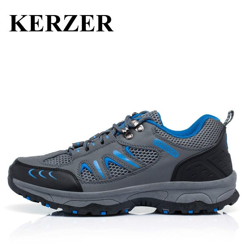ФОТО KERZER Outdoor Men Breathable Mesh Trekking Shoes Spring/Summer Hiking Sneakers Men Gray/Brown Trekking Boots Men Mountain Shoes