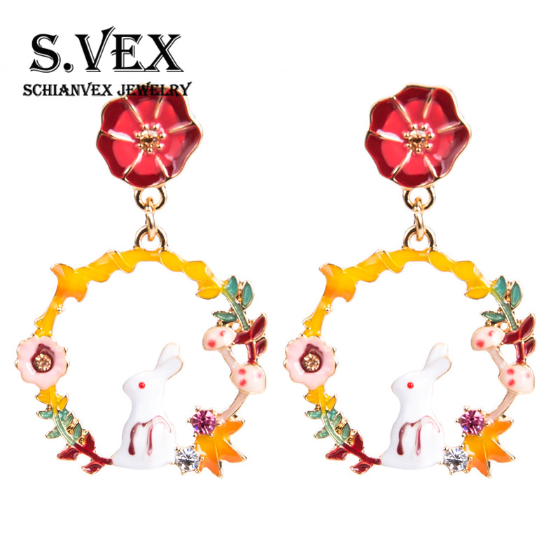 S.VEX Fashion Rabbit Stud Earrings for Women Statement Oorbellen Flowers Ear Cuff Jewelry Christmas Gift Clip on Earrings
