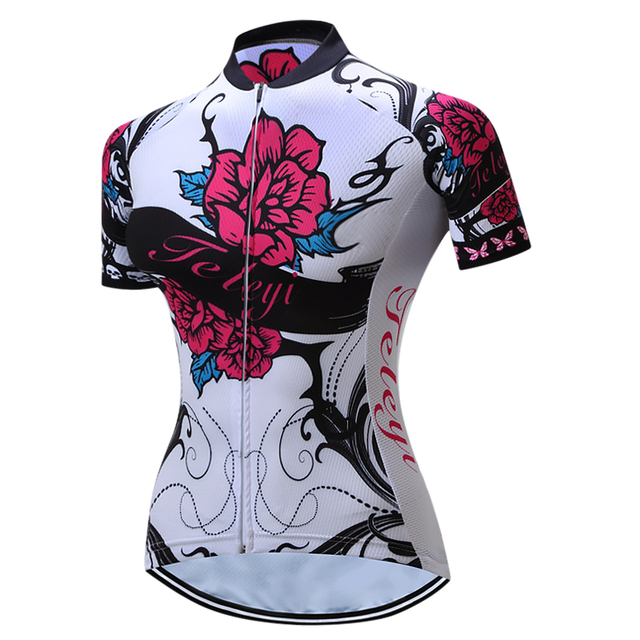800e8d1c4 2017 TELEYI MTB Bike Jersey Women s Pro Cycling Clothing Short Sleeve Bike  Shirts Top Girls Wear Jersey Flower bicycle Jacket