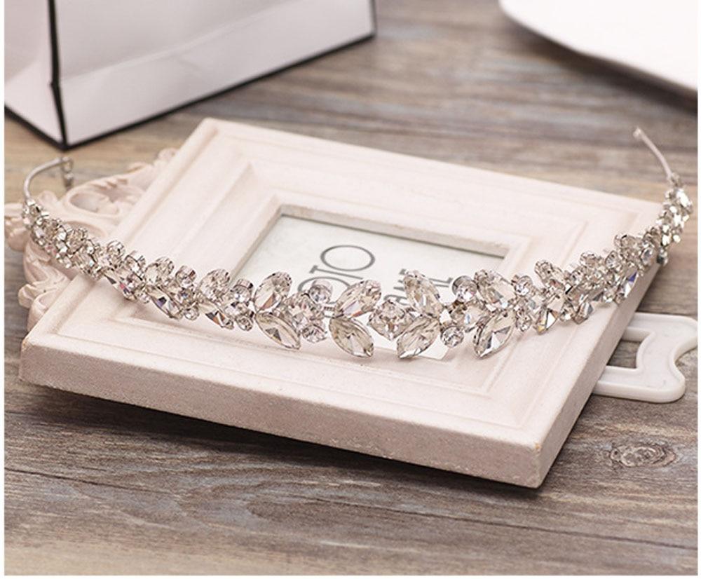 Wedding Hair Jewelry Bridal Headpiece Bride Hair Accessories Charm faceted Crystal Leaf Halo Flower Fairy Crown