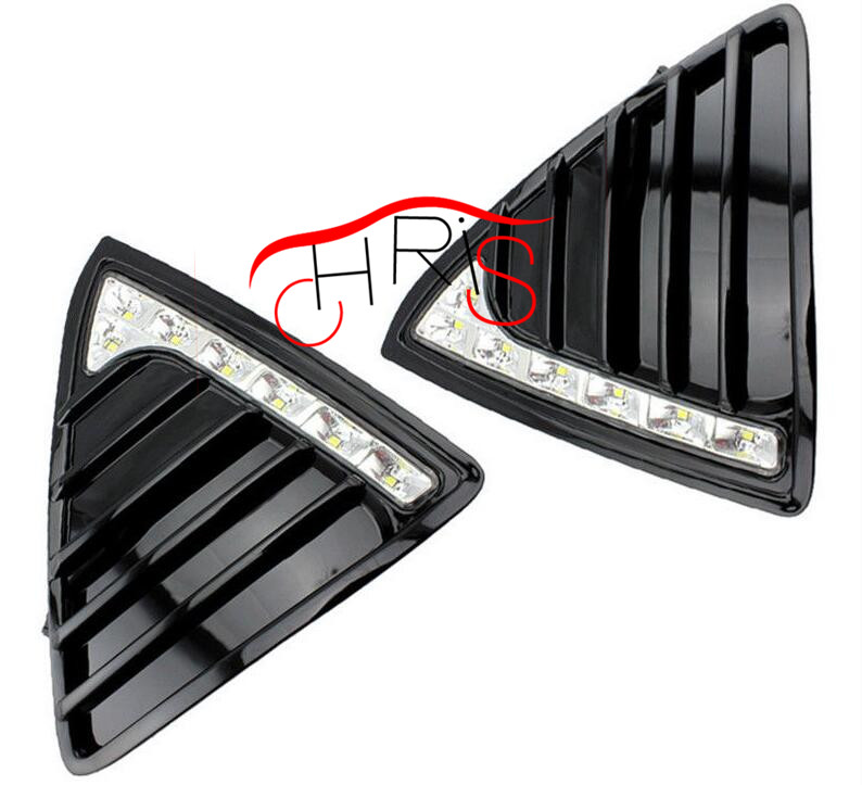 Front Bumper Grille Daytime Running Light  For Ford Focus 2011-2014 DRL abs chrome front grille around trim for ford s max smax 2007 2010 2011 2012